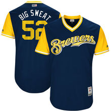 "MLB Men's Milwaukee Brewers Jimmy Nelson ""Big Sweat"" Baseball Navy 2017 Players Weekend Authentic Jersey(China)"