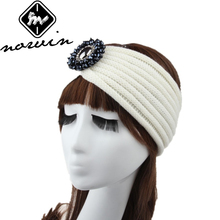 Norvin Fashion Women Headband Elastic Turban Knitti Wool Headband Gemstone Wide Stretch Girl Hair Accessories New Winter 2016