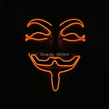 2017 New Year Cosplay Men's V for Vendetta Flash Orange Color El Wire Led Glowing Mask for Party Sale By 3V Sound Active driver