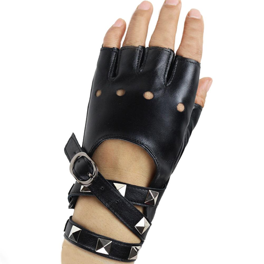 Half-finger PU Leather studded Gloves Theatrical Punk Halloween