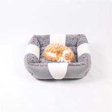 Brief Cute Cat Beds Velvet Rectangle Patchwork Dot Print Pet Dog Mats Little Teddy Sleeping Sofa Pet Suppliers Houses