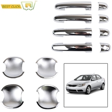 ACCESSORIES 2IN1 FIT FOR 2008~2012 KIA FORTE CERATO CHROME DOOR HANDLE COVER + DOOR BOWL INSERT TRIM CUP MOLDING CATCH(China)