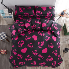 2017 New Style Punk love Duvet Cover Set Polyester Fiber Bed Sheet Sets Sets King Queen Full Twin Size Red heart 3 / 4pcs(China)