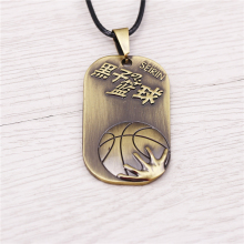 J store Anime Sunspot basketball Dog Tag Alloy Choker Rope Leather Necklace For Women Men Jewelry cosplay colar JJ11760