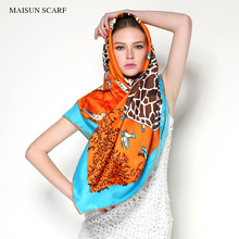 Big size 130X130 designer scarf silk blending of high quality cheap square shawl 2016 new women fashion brand cheap scarves