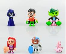 6pcs/1lot Teen Titans Go Robin Beast Boy Raven Cyborg 5cm Action Figures Toys Brinquedo Toy Girl Boy Christmas Gift
