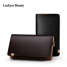 Business Men Long Wallet Designer Double Zipper Solid Leather Male Purse Brand Men Wallets Carteira Masculina 113