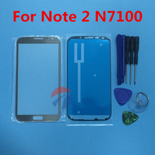 Replacement Outer Glass For samsung galaxy Note 2 N7100 N7105 Touch Screen Front Glass Outer Lens with open tools & Adhesive(China)