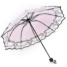 Women Folding Rose Pattern Parasol Romantic Transparent Umbrella  Lace Butterflies Summer Flowers plastic Lovely Gift Home 1 pc