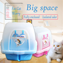 EnClosed Large Plastic Cat Litter Box Cofre Gato Puppy Toilet Training Litter For Cats Dogs Potty Indoor Wc For Rabbit QQM2288(China)