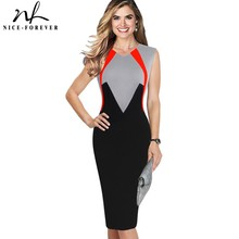 Buy Nice-forever Vintage ColorBlock Contrast Patchwork Wear Work vestidos Business Party Bodycon Sheath Women Work Dress B445 for $17.39 in AliExpress store