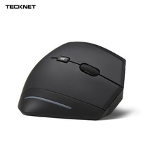 Tecknet Ergonomic USB wireless Vertical Mouse with Adjustable DPI Levels 2000/1500/1000 and Side Controls - Black