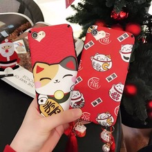 For iPhone 6 7 Plus 6S 6Plus 7Plus Case The latest Red Cute Kawaii Lucky Cat & Cat Pendant Rope Soft TPU Back Cover Phone Cases