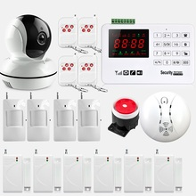 Wireless GSM Alarm System 433MHz Home Burglar Security Alarm System Touch Keyboard Smoke detector WiFi IP Camera(China)