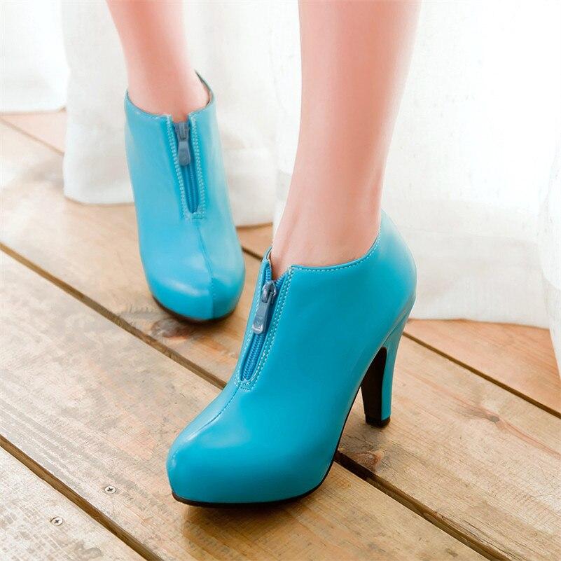 Plus Size 34-43 New Europe star fashion sexy women high heels boots Platform Ankle Boots zipper Women Fashion Warm Pumps Shoes<br><br>Aliexpress