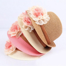 2017 New Summer Kids Floral Straw Hats Fedora Hat Children Visor Beach Sun Baby Girls Sunhat Wide Brim Floppy Panama For Girl(China)