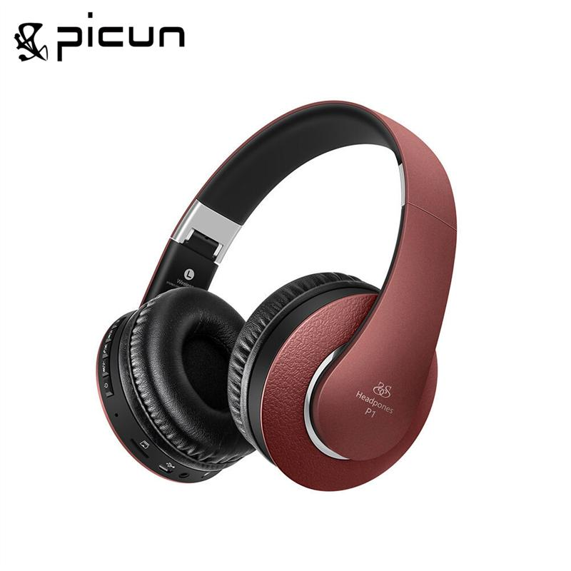 New Universal Brand Picun P1 Wireless Bluetooth 4.0 Headphone Super Bass Support TF Card FM Radio Headset HIFI MP3 Music play<br>