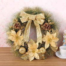 40cm Diameter Christmas Wreath Bow Pine Needle Christmas Decoration For Home Party Outdoor Tree Ornaments Supplies(China)