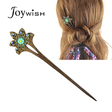 Fashion Hair Jewelry Vintage Style Wood with Colorful Rhinestone Flower Hair Sticks Hairwear For Women Fashion Designer
