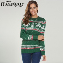 Meaneor Women Christmas Jesus Print Sweaters Casual Long Sleeve Autumn O Neck Deer Print Slim Pullover Sweater Winter Tops(China)