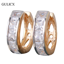GULICX Channel Set Luxury Fashion Gold-color Hoop Earring Princess White Cubic Zirconia Loop Circle  Wedding Jewellery E143