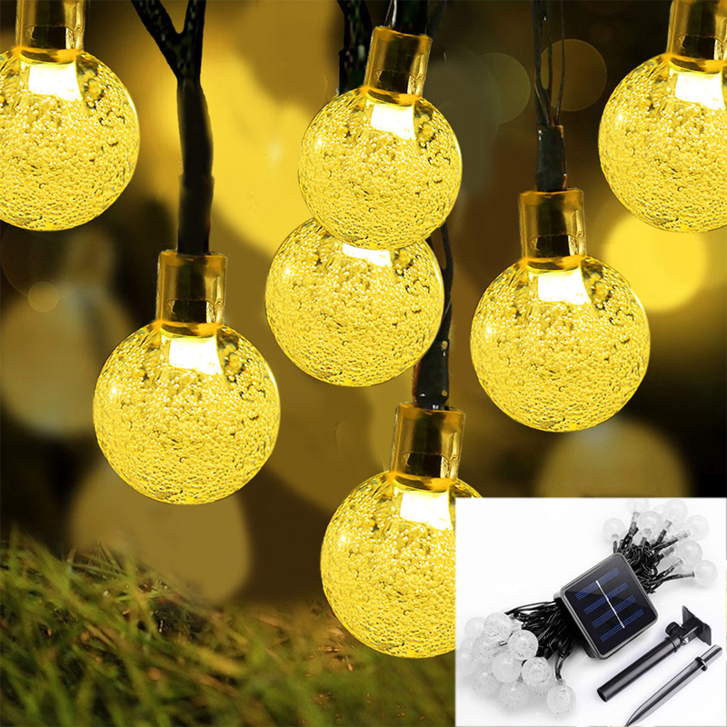 30 LEDs 6M Crystal Ball Solar Lamp LED String Light Solar Garlands Garden Christmas Outdoor luz solar Charge Fairy Lights