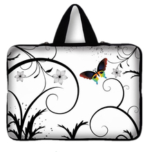 Universal 7 10 12 13 14 15 17 Portable Butterfly Flowers Laptop Bag Carry Case Sleeve Netbook Cover 15.4 17.3 Computer Pouch #D