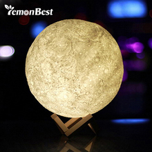 3D Magical Moon LED Night Light Moonlight Desk Lamp USB Rechargeable 3 Light Colors Stepless for Home Decoration Christmas(China)
