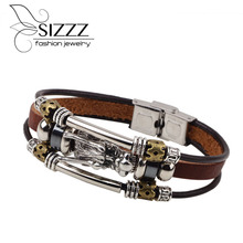 2016 Fashion Male Cool Genuine Leather Bracelet Men Belt Buckle Cuff Bracelets Cheap Chinese Dragon Head Jewelry(China)