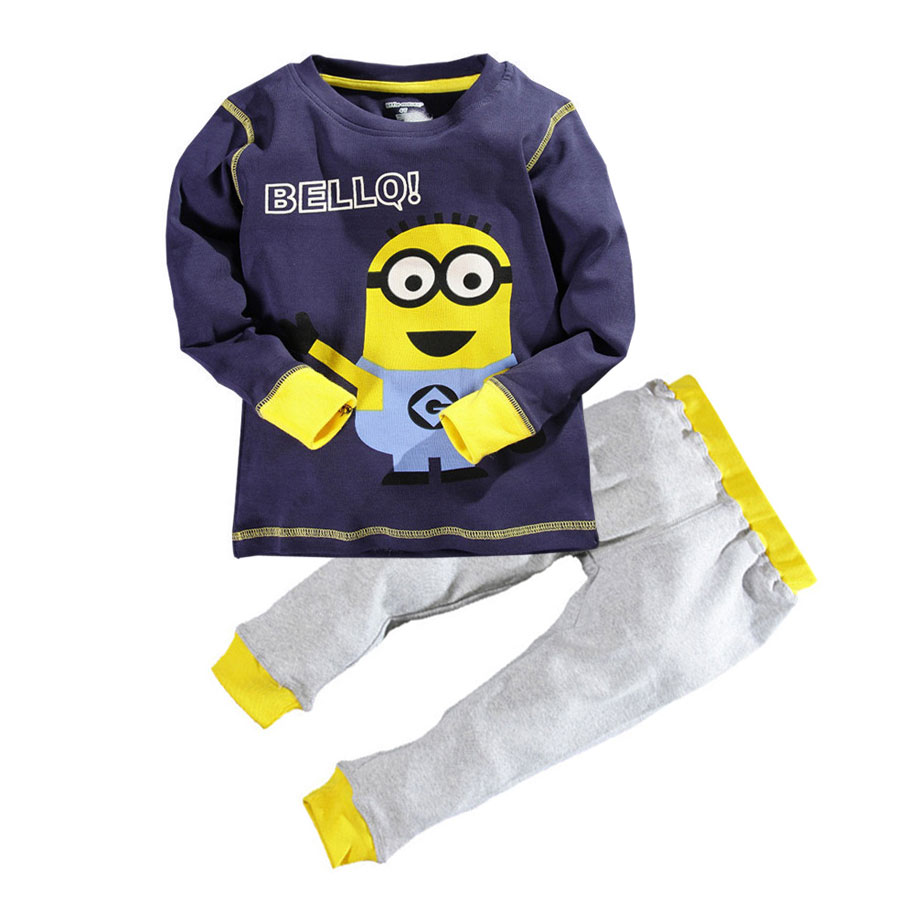 Toddler boy clothes sets 2017 New despicable me character kids clothing sets boys clothes + casual long pants 2pc clothing sets<br><br>Aliexpress