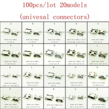 Promotion!100pcs/lot 20models micro USB 2.0 connector USB jack for mobile tabletels speakers etc charging socket(China)
