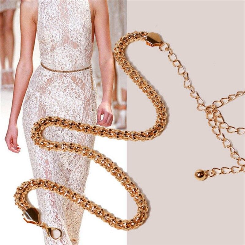 Gold Plated Sexy Chain Belt For Women Body Chain Accessories Thin Waistband Metallic Gold Belt Women