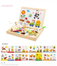 Educational Magnetic Animal Puzzle Wooden Toys Farm Jungle Children Kids puzzles Baby Drawing Easel Board Jigsaw Multifunctional