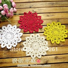 Free shipping 12 pic 16 cm round doilies with flower for wedding decor sunflower colorful cotton crochet doilies for home decor(China)