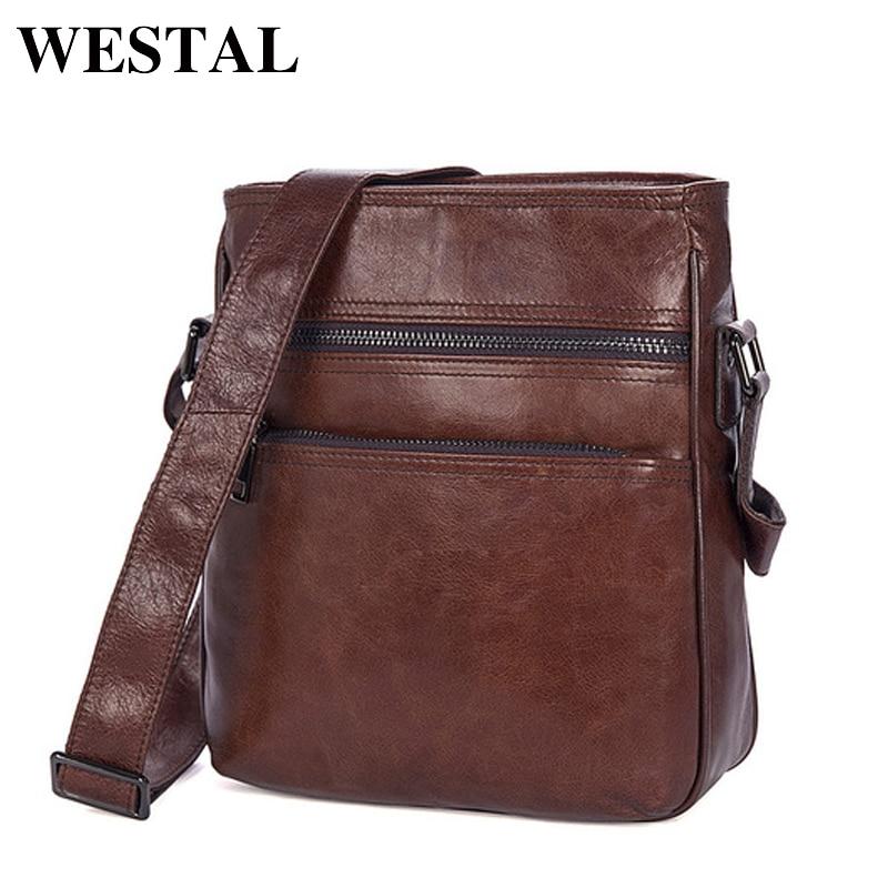 WESTAL Shoulder Bag Men Genuine Leather Zipper Vintage Leather Messenger Bags For Men Cell Phone Pocket Flap Crossbody Bags 1025<br>