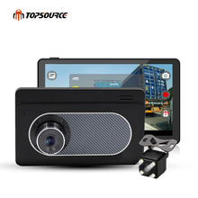 TOPSOURCE 7'' Car GPS Navigation Android DVR Dual Camera Bluetooth Truck GPS Navigator Navitel/Europe GPS Map 512M  16GB AVIN