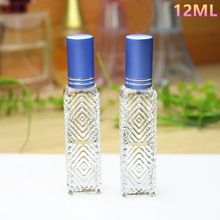 50pcs/lot 12ml Glass Perfume Spray Bottles Clear Square Cosmetic Perfume Packaging Bottle Refillable Glass Bottle Wholesale