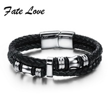 2017 Fashion Black Double Layer Braided Leather Bracelet Men Stainless Steel Silver Bracelets Bangles with Magnetic Buckle FL911(China)