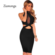 Ziamonga Summer Dress 2017 Black Sexy Hollow Mesh Splice Knee Length Bandage Dress Sexy Party Night Club Bodycon Dresses S2790