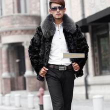 2017  Winter  Jacket Male faux fur coat Warm Male fur collar Jacket  Mens Mink Coat Plus Size free shipping