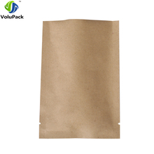 "9x13cm (3.5x5.1"") High quality open top flat brown paper pack bag aluminum foil heat seal kraft paper packaging bags(China)"