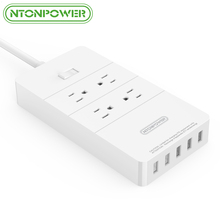 NTONPOWER HPC Smart Power Strip Socket ETL Listed US Plug Surge Protector 4 AC Outlet 5 Port USB Fast Charger - 1M Power Cord