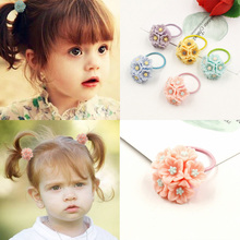 Aikelina 2017 New Lovely Acrylic Flowers Children Hair Ropes Elastic Rubber Hair Bands Girls Hair Accessories Baby Kids Headwear