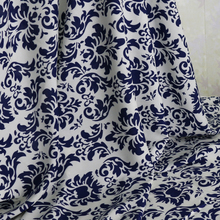Blue white floral cotton rayon poplin material for dress