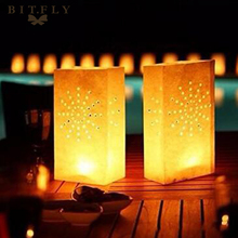 10pcs Paper Candle Bags Tea Light Candle Holder Bag Lantern For Christmas Party Wedding Outdoor Decoration Valentines Day Gifts