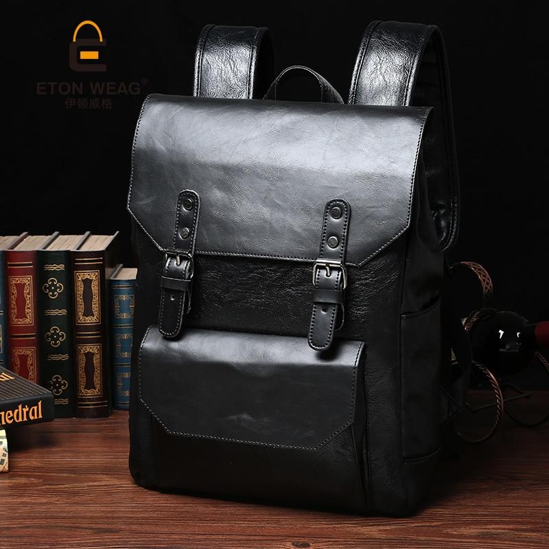 ETONWEAG Brands Leather Schoolbag Backpack Men Black Vintage School Bags For Teenagers Travel Backpacks BagPack Back To School<br>