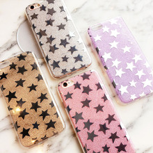 Fashion Plating Glitter Star Case For Apple iPhone SE 5 5s 6 6S Luxury Ultra Thin Soft TPU Phone Bags Capa For iPhone 6 6S plus