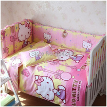100% Cotton Kid Baby Bedding Set Product Infant Cartoon pattern bumper Bed Sheet Pillowcase for Crib Cradle 6 kind color 5 pcs(China)
