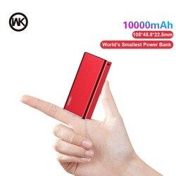 WK 10000 мАч mi ni power Bank портативное зарядное устройство Быстрая Зарядка power bank для Xiaomi mi iPhone Внешняя батарея повербанк металлический корпус