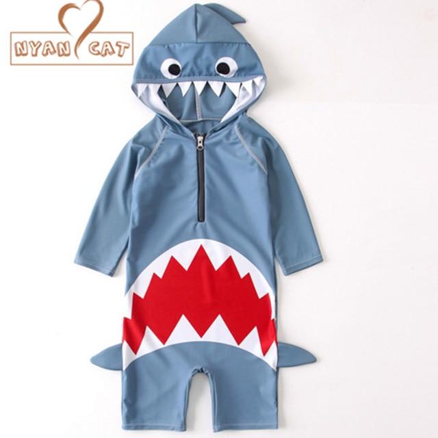 bc860473b8a6 Nyan Cat 2018 summer baby boys girls hooded swimwear shark swimming suit  infant toddler kids children